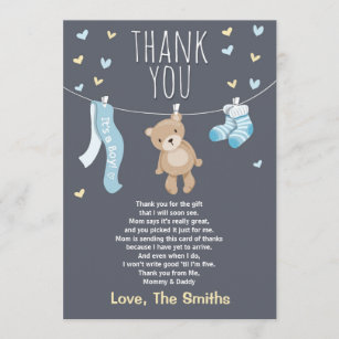 Baby Shower Thank You Cards Invitations Zazzle Uk