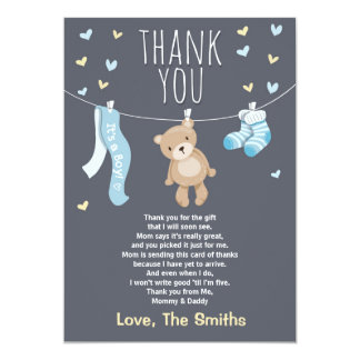 Baby Shower Thank You Card Teddy Bear blue 13 Cm X 18 Cm Invitation Card