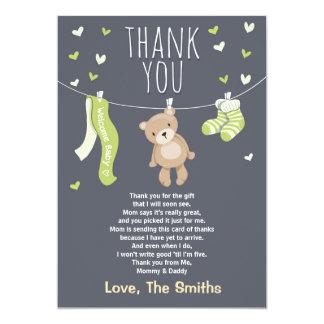 Baby Shower Thank You Card Teddy Bear Lime green 13 Cm X 18 Cm Invitation Card