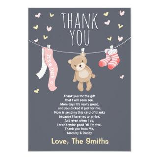 Baby Shower Thank You Card Teddy Bear pink girl 13 Cm X 18 Cm Invitation Card