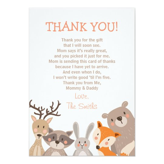 Baby Shower Thank You Card Woodland Zazzle