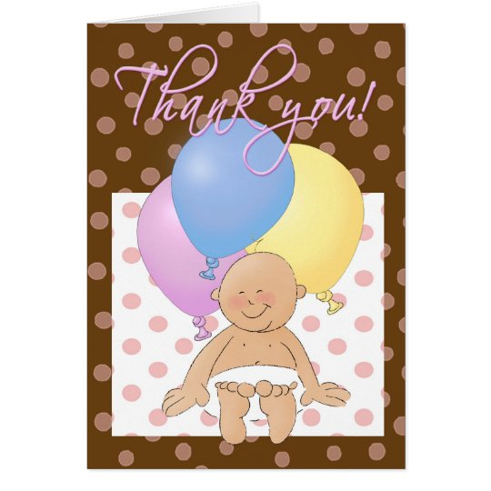 Baby shower thank you cartoon baby & balloons. card