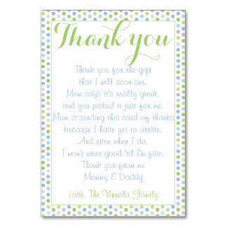 Baby Shower Thank You from baby Table Card