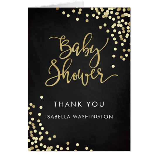 Baby Shower Thank You Gold Calligraphy & Confetti Card