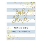 Baby Shower Thank You Gold Calligraphy & Confetti Postcard