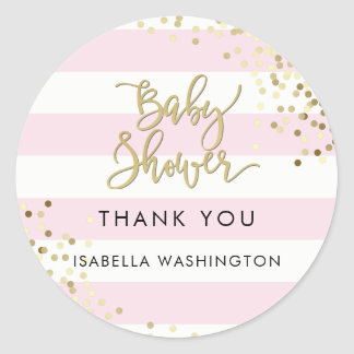 Baby Shower Thank You Gold Calligraphy & Confetti Round Sticker