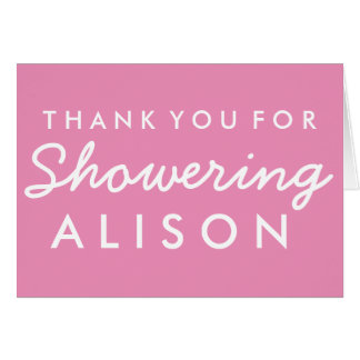Baby Shower Thank you Note - Pink and White Card