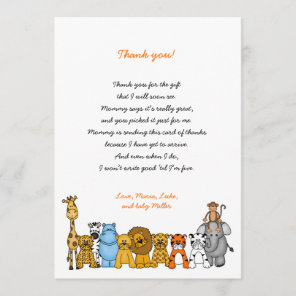 Baby Shower Thank you note with poem, neutral