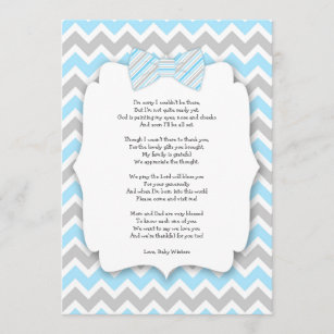 baby shower thank you notes with poem blue gray