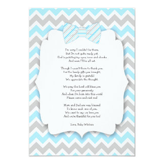 Baby shower thank you notes with poem blue gray card