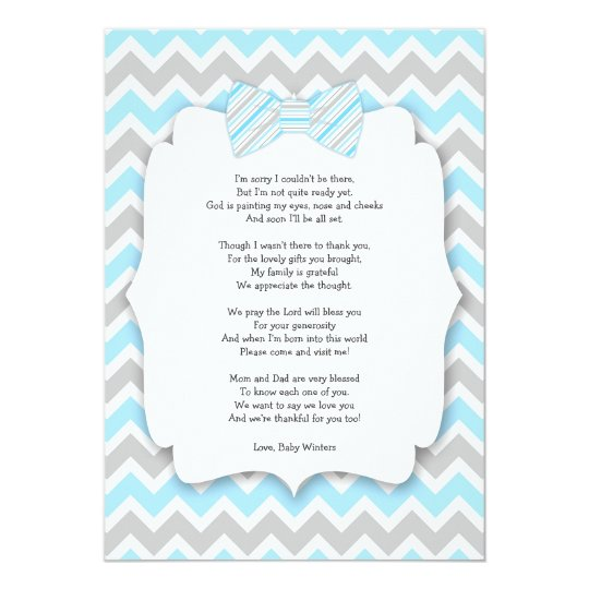 Baby shower thank you notes with poem blue