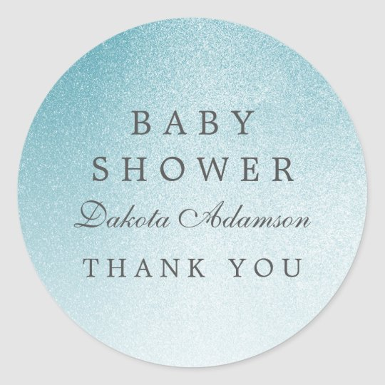 Baby Shower Thank You | Ombre Light Blue Glitter Classic Round Sticker