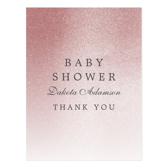 Baby Shower Thank You   Ombre Rose Gold
