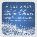 Baby Shower Thank you Sparkling Wave Blue Square Sticker