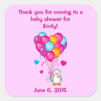 Baby Shower Thanks for Attending Penguin Balloons Square Sticker