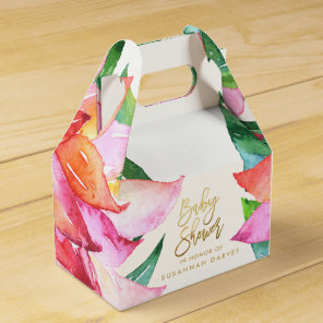 Baby Shower | Tropical Watercolor Flower Thank You Favour Box