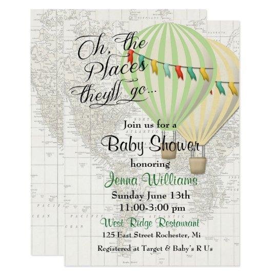 Baby Shower Twin Hot Air Balloon Invitation