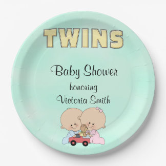 Baby Shower Twins Boy Girl Paper Plate
