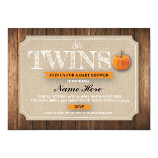 Baby Shower Twins Pumpkin Burlap Fall Invite