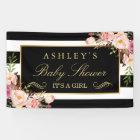Baby Shower Vintage Floral Black White Stripes Banner