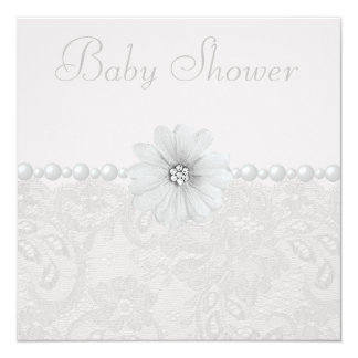 Baby Shower Vintage Paisley Lace, Flowers & Pearls 13 Cm X 13 Cm Square Invitation Card