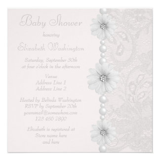 Baby Shower Vintage Paisley Lace, Flowers & Pearls Personalized Invitation