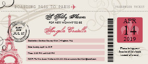 Baby Shower Vintage Paris Boarding Pass Invitation