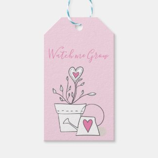 Baby Shower Watch me Grow Pink Heart Plant Gift Tags