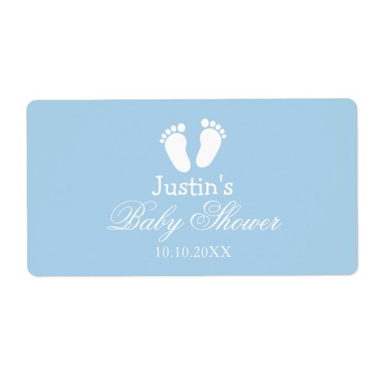 Baby shower water bottle stickers with little feet
