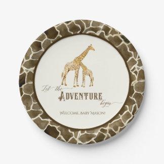 Baby Shower Watercolor Cute Giraffe Mama and Baby Paper Plate