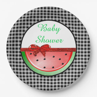 Baby Shower  Watermelon Red  Black Gingham Plates