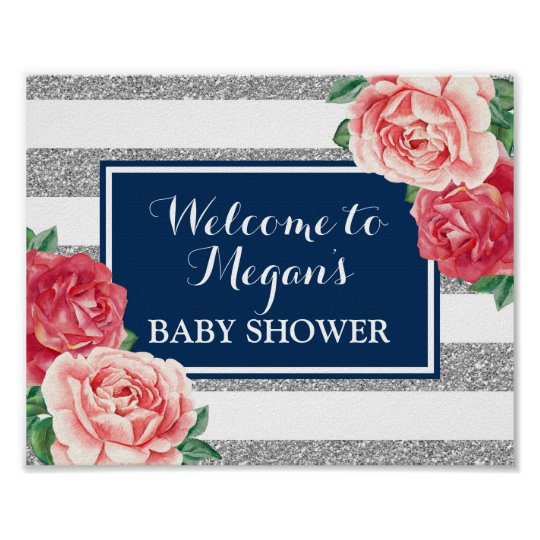 Baby Shower Welcome Blue Silver Pink Floral Poster