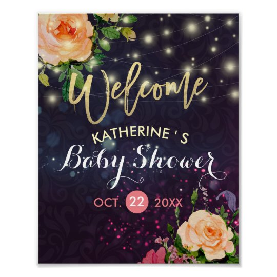 Baby Shower Welcome Floral Purple Sparkle Lights Poster