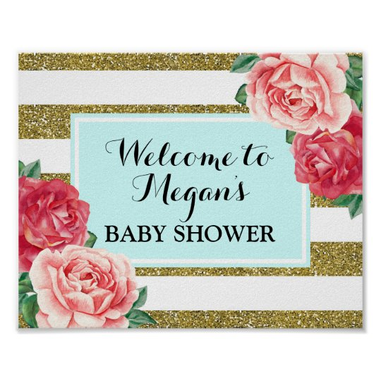 Baby Shower Welcome Light Blue Gold Pink Floral