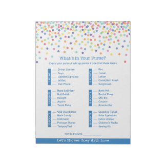 Baby Shower What's In Your Purse Confetti Game Notepads