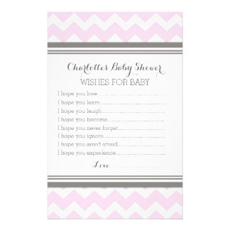 Baby Shower Wishes for Baby Blush Grey Chevron Stationery Design