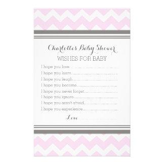 Baby Shower Wishes for Baby Blush Grey Chevron Stationery Design