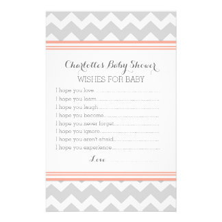 Baby Shower Wishes for Baby Coral Grey Chevron Personalised Stationery