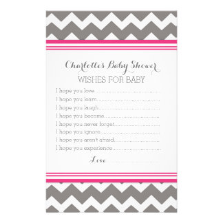 Baby Shower Wishes for Baby Pink Grey Chevron Stationery