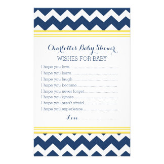 Baby Shower Wishes for Baby Yellow Blue Chevron Stationery