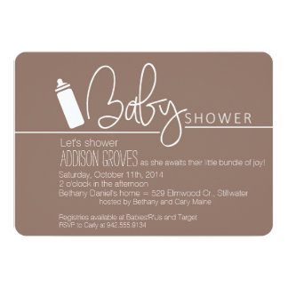 Baby Shower with Bottle in Tow 13 Cm X 18 Cm Invitation Card