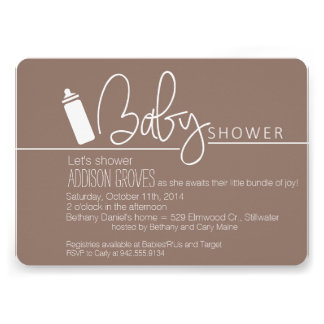 Baby Shower with Bottle in Tow Invitations