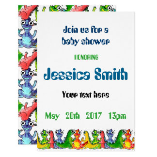 """Baby shower"" with cute little dinosaurs Card"
