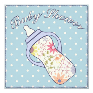 Baby shower with feeding bottle blue 13 cm x 13 cm square invitation card