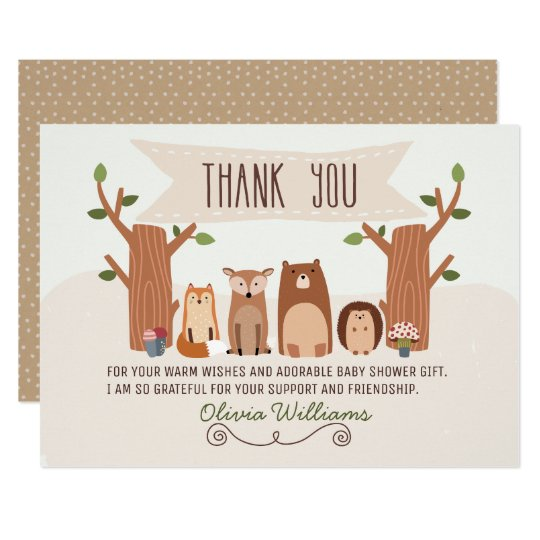 Baby Shower Woodland Animals Thank You Card
