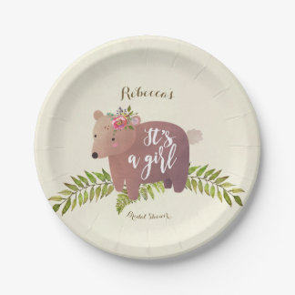 baby shower woodland bear it's a girl paper plate