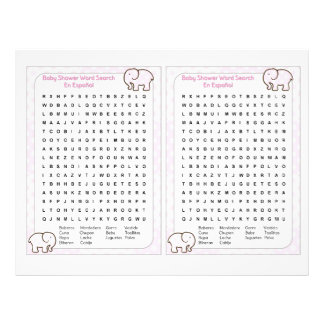 Baby Shower Word search Spanish 21.5 Cm X 28 Cm Flyer
