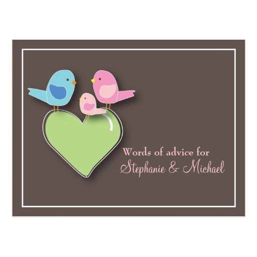 Baby Shower Words of Advice Card Baby Bird Post Card