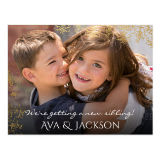 Baby Sibling Announcement Custom Photo & Text Postcard