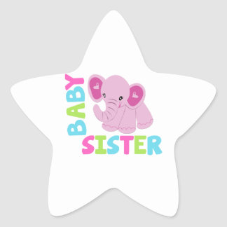 Baby Sister Elephant Star Sticker